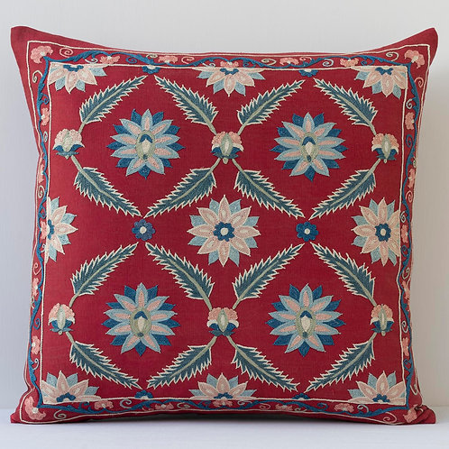 "Approx. 50cm/ 20"" square cushion - silk hand embroidered Ottoman motifs"