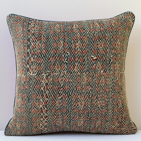 Square, overstitched block printed textile/ red antique linen cushion