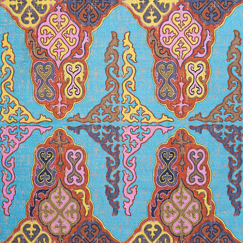 Turquoise base Central Asian tribal Kirghiz weave (price is per metre)