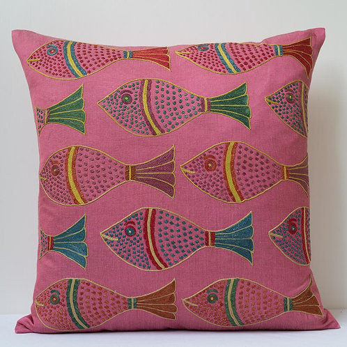 """(C) Approx. 50cm/ 20"""" square pink cushion - silk hand embroidered fish motifs"""