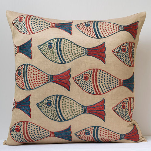 "Approx. 50cm/ 20"" square cushion - silk hand embroidered fish motifs 5"
