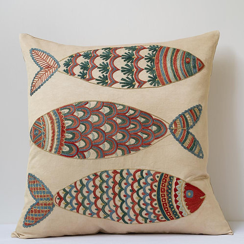"""(P) Approx. 50cm/ 20"""" square cushion - silk hand embroidered fish motifs"""