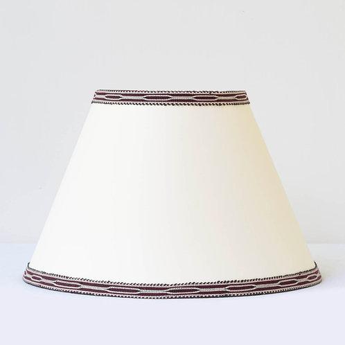 "C2 14"" / 36 cm base cream card shade with hand woven burgundy ivory trim"