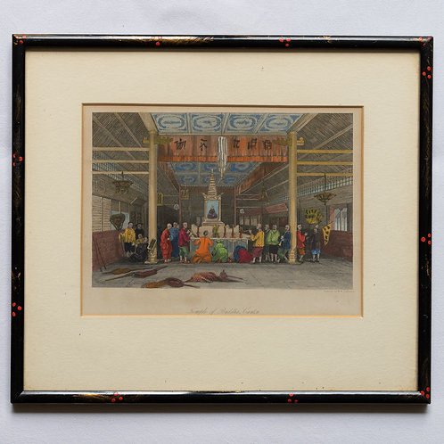 Framed 19th century engraving of The Temple of Buddha, Canton