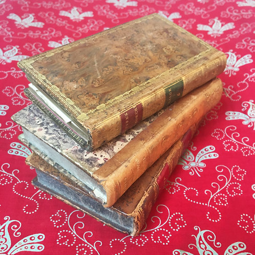 Set 3 antique leather bound French books