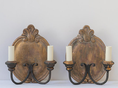 Pair hand painted wooden and metal wall sconces