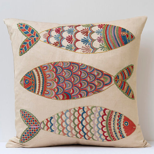 """(F11) Approx. 50cm/ 20"""" square cushion - silk hand embroidered fish"""
