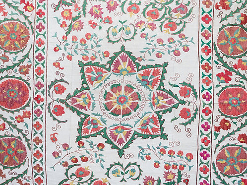 Silk hand embroidered pinks and greens suzani