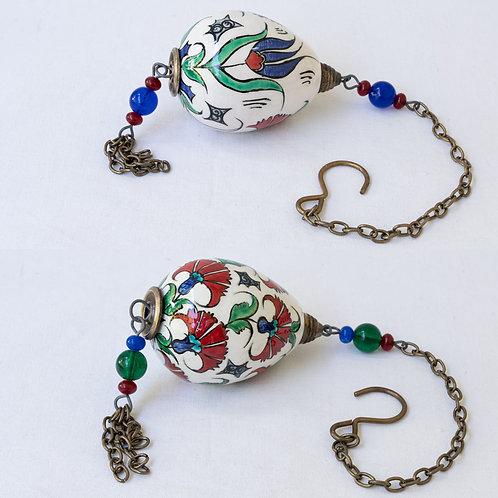 Set of 2 hanging hand painted ceramic votive eggs set. 4