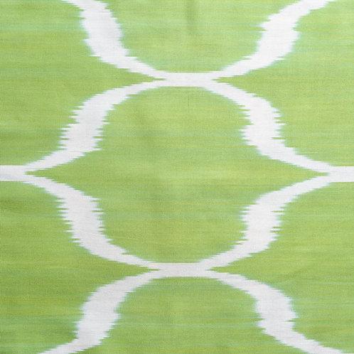 Lime green/cream ogee motif ikat