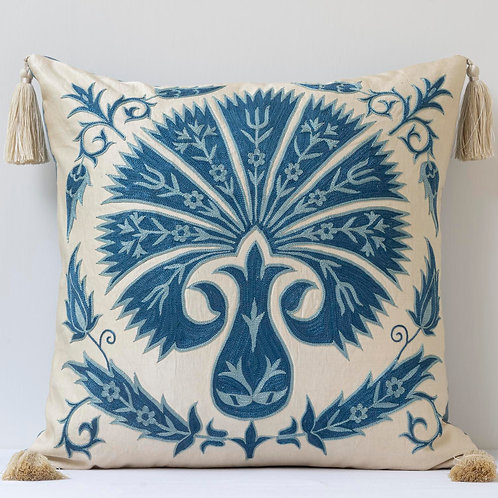 """Sumptuous silk hand embroidered 20""""/50cm Ottoman carnation cushion"""