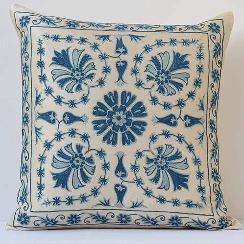 """Approx. 50cm/ 20"""" square cushion - silk hand embroidered"""