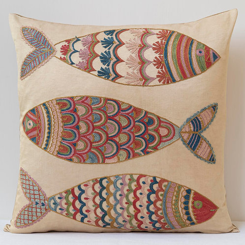 """(A11) Approx. 50cm/ 20"""" square cushion - silk hand embroidered fish m"""