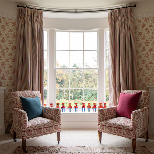 Bespoke chairs in Susan's Padishah fabric