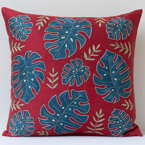 """Approx. 50cm/ 20"""" square cushion - silk hand embroidered 1"""