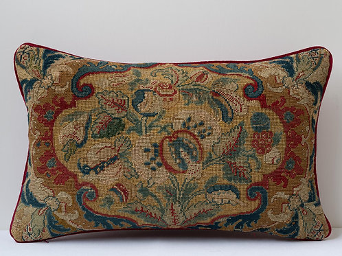 Rectangular cushion 17th century French Baroque tapestry/ antique French velvet