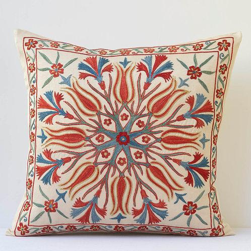 "J2 Approx. 50cm/ 20"" square cushion - silk hand embroidered Ottoman mot"