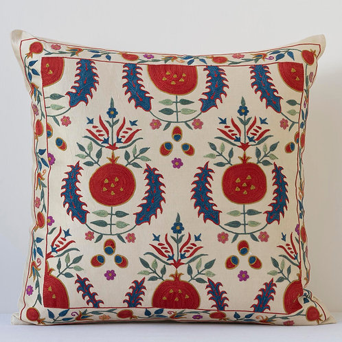 """Approx. 50cm/ 20"""" square cushion - silk hand embroidered pomegranates"""