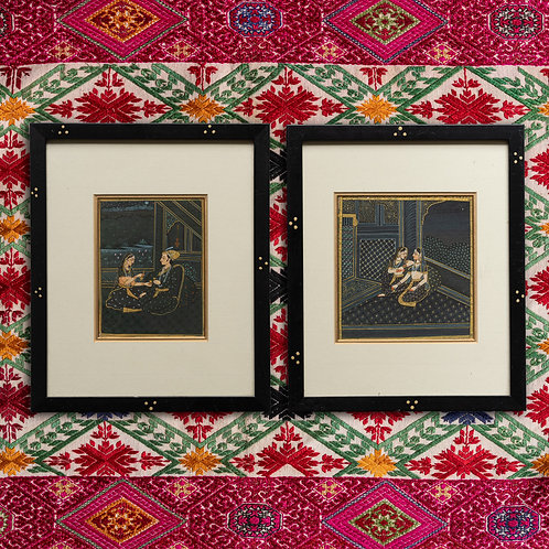 Pair beautiful framed Indian miniature watercolours
