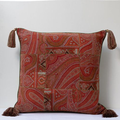"""50cm/20"""" square patchworked antique French paisley and hemp cushion"""