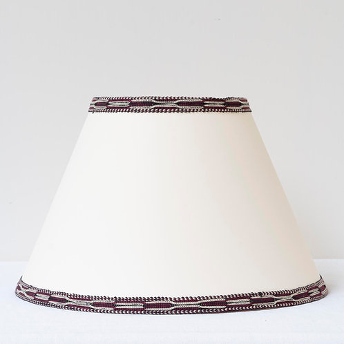 "12"" (30cm) base cream card shade with hand woven burgundy ivory trim"