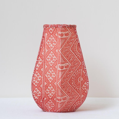 Tulip candle clip shade in archive print coral silk