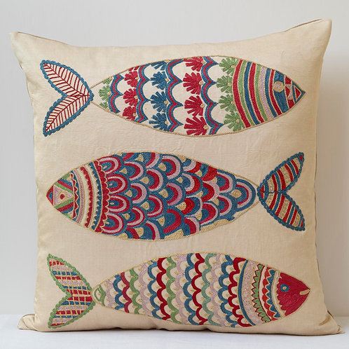 """(A15) Approx. 50cm/ 20"""" square cushion - silk hand embroidered fish m"""