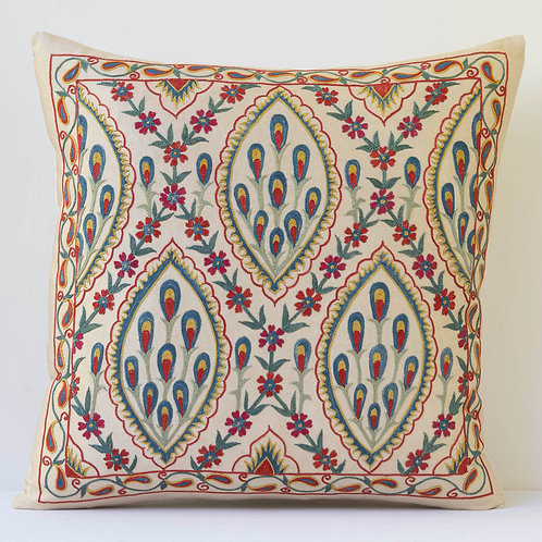 "J12 Approx. 50cm/ 20"" square cushion - silk hand embroidered Ottoman motifs"