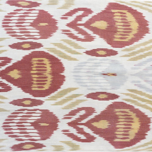 Pastel raspberry green saffron blue/grey cream ikat