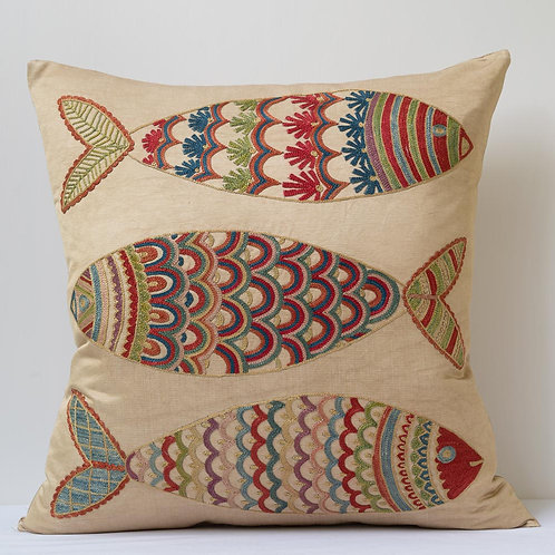 """(L) Approx. 50cm/ 20"""" square cushion - silk hand embroidered fish motifs 2"""