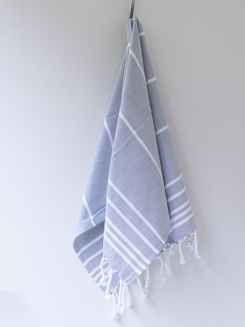 Large hand woven darker bluey/white cotton hammam towel