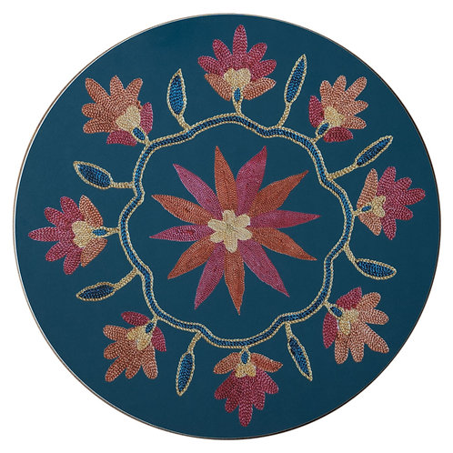 Daisy and garland table mat in teal (price per mat)