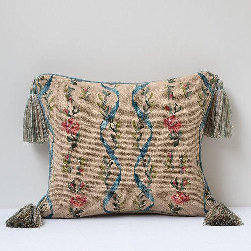 Small tapestry cushion, backed in hand woven wild silk, piped in Claremont