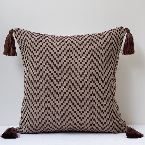 "17""/43cm cushion with Claremont front/George Spencer reverse. Tassels."