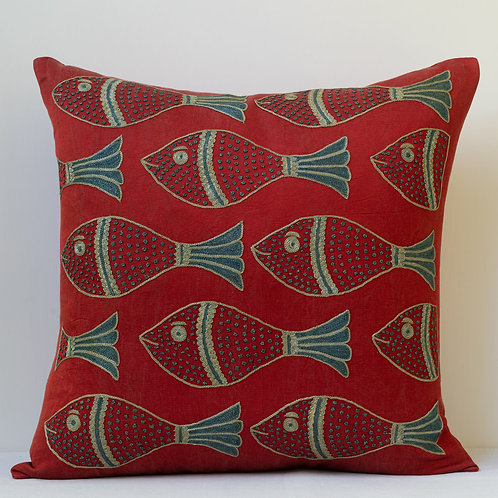 "Approx. 50cm/ 20"" square cushion - silk hand embroidered fish motifs M"