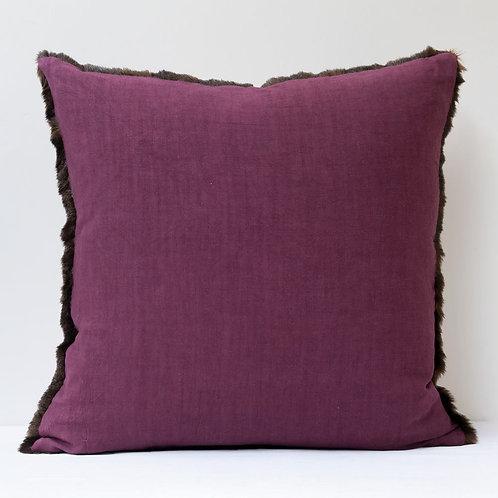 """20""""/50cm square vintage faux fur/ antique hand dyed linen cushion"""