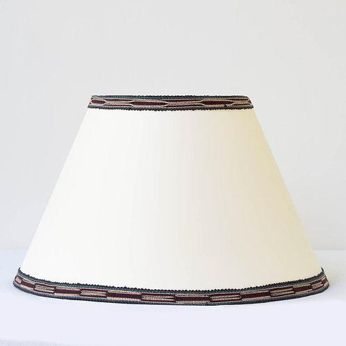 "C8 14"" / 36 cm base cream card shade with hand woven Burgundy green beige tr"