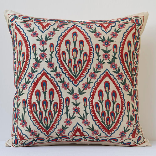 """Approx. 50cm/ 20"""" square cushion - silk hand embroidered Ottoman"""