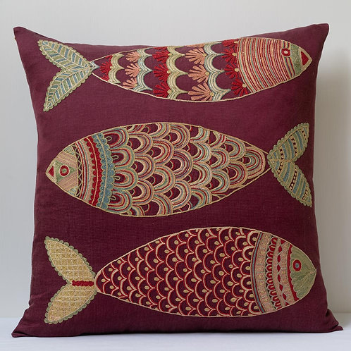"(S) Approx. 50cm/ 20"" square cushion - silk hand embroidered fish motifs"