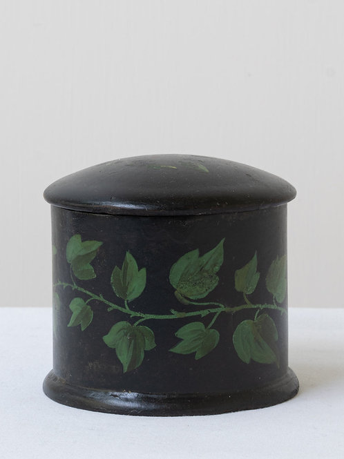 Charming small antique pot with lid and leaf motifs