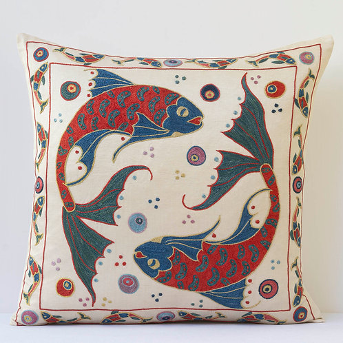 """K4 Approx. 50cm/ 20"""" square cushion - silk hand embroidered Ottoman mot"""