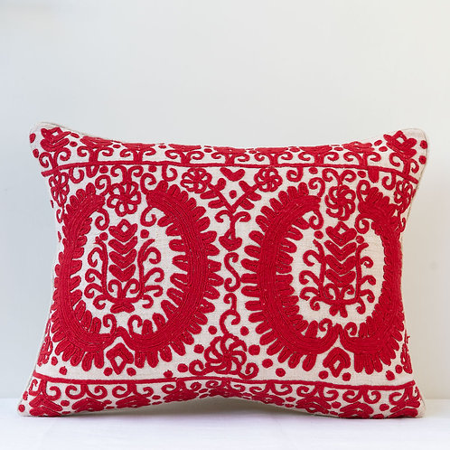 Vintage red red embroidered laurel garland cushion