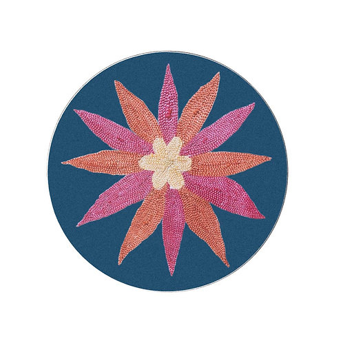 6 Daisy and garland coasters in teal (price is for the set)