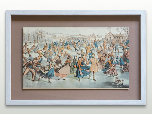 Framed archive New York skating scene print