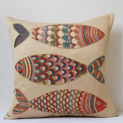 "(M) Approx. 50cm/ 20"" square cushion - silk hand embroidered fish motifs"
