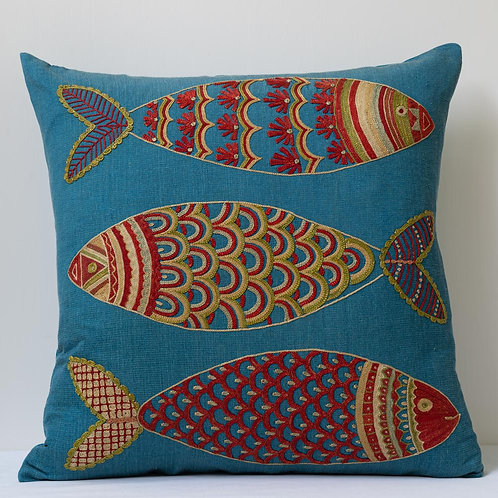 "Approx. 50cm/ 20"" square cushion - silk hand embroidered fish motifs 3"