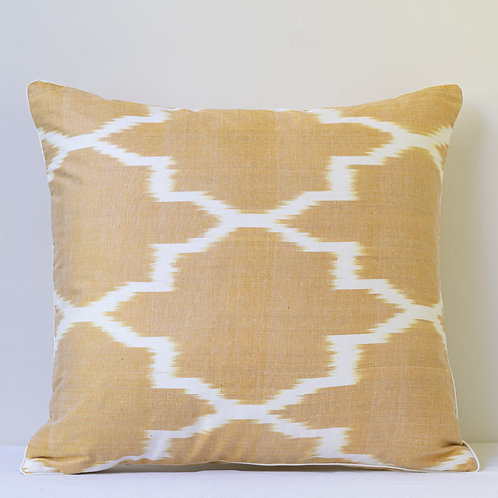 Almost square double sided indigo coffee cream patchwork ikat cushion