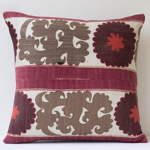 19th century silk embroidered suzani cushion