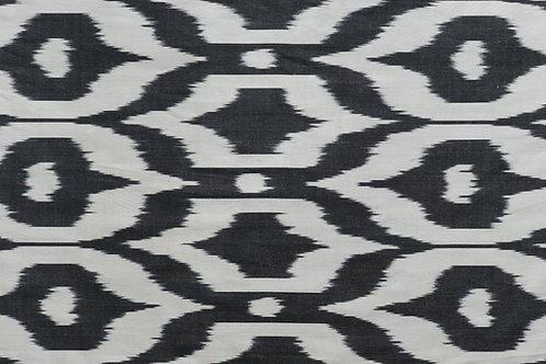 Black white ogee motif ikat