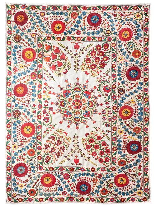 Stunning densely silk hand embroidered Nurata suzani